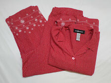 Sag Harbor Red & White Shirt & Capris Matching Set Outfit Women's Size XL