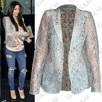 Next Blue Gold Lace Blazer Jacket Summer Casual Party Cardigan Formal Womens
