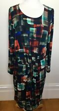 MEREDITH Brand New Long Sleeve Muted Geometric Stretch Jersey Dress RRP $199 XL