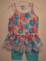 INFANT/TODDLER GIRLS 2PC  FLORAL TOP WITH TULLE ACCENTING & LEGGINGS OUTFIT NWT