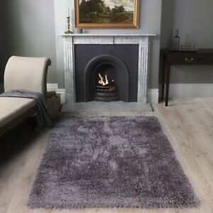 Super Soft Marl Gray Shaggy Rugs Thick Deep Warm Quality Living Room Area Rug