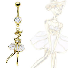 14K Gold Plated Marilyn Belly Ring White Dress Pierced Navel Naval (w425)