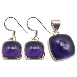 Online Cyber Monday Deals Set 925 Silver Square AMETHYST Earrings Pendant