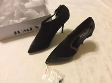 Jumex Ladies Black Stiletto Shoes With Diamante Detail Size 7/40 New And Boxed