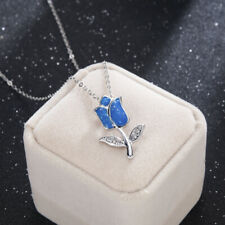 Charm Flower Blue Fire Opal Pendant Necklace Chain 925 Silver Fashion Jewelry