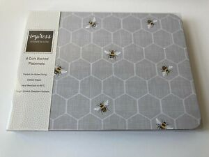 Set of 6 Grey Bumble Bee Placemats Dining Dinner Table Mats