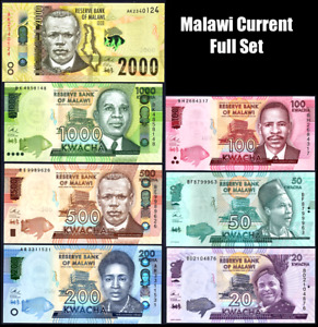 MALAWI CURRENT FULL SET* 20/50/100/200/500/1000/2000 KWACHA* UNC GEM* USA SELLER