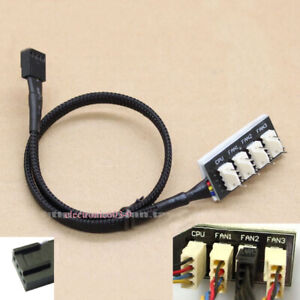 4-way PC FAN HUB Temperature-controlled supports 4Ports 12v 3pin/4pin Fan Cable