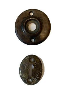 "Antique Colonial Rosette Doorknob Plate Round 2 1/4"" & Skeleton Key Plate"