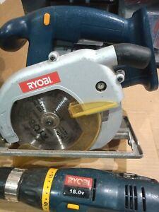 Ryobi 18V Cordless Circular Saw & Drill. No Battery Or Charger. Spares Or Repair
