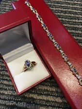 2 PC SET ~ Tanzanite & Diamond Ring & Bracelet matching Set  ~14K Yellow Gold