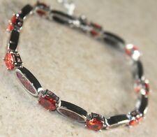 & Orange Red Garnet Bracelet Silver Elegant Orange Fire Opal