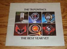 Original 1978 Pontiac Full Line Deluxe Sales Brochure 78 Firebird Grand Prix
