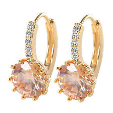 Elegant Yellow Gold Plated CHAMPAGNE Round CZ Crystal Hoop Earrings Jewelry UK