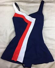 Vtg Rose Marie Reid Red White Blue 50's/60's Pin Up Swimsuit Skirt Bra 16 VLV