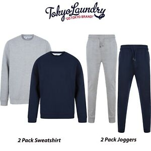 Men's Tokyo Laundry 2 Pack Sweatshirt 2 Pack Joggers Comfy Soft Touch Loungewear