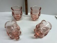 Set Of 4 Pink Tulip Peg Votive Cup Candle Holders