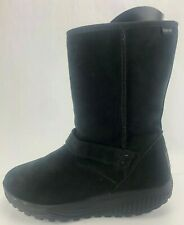 Skechers Shape Ups Winter Boots Insulated Black Suede Mid Calf Booties Women 8.5