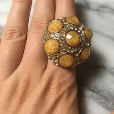 NWOT Forever 21 Gold Yellow Rhinestone Bead Stretch Cocktail Ring One Size