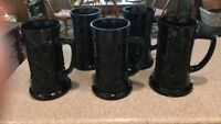 5 INDIANA GLASS TIARA BLACK GLASS STEIN MUGs