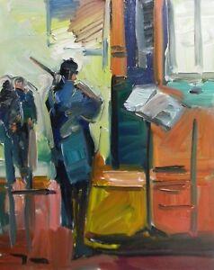 JOSE TRUJILLO ORIGINAL Oil Painting EXPRESSIONISM VIOLINIST FAUVIST LARGE MUSIC