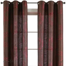 1 Panel 50x72 Studio Focus Grommet-Top Curtain CHOCO CHIP RIO RED Brown Circles