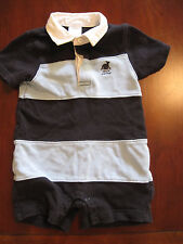 Gymboree Boy Blue Rugby Stripe Whale Watcher Cotton Romper 3-6 Months Euc