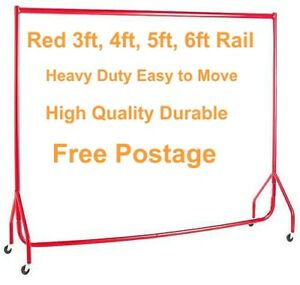 HEAVY DUTY Clothes Rails RED 3ft,4ft,5ft,6ft Garment Hanging Shop Displays🔥
