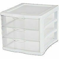Sterilite 17918004 3-Drawer Clearview Organizer with White Frame