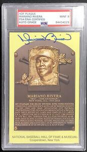 Mariano Rivera Signed Gold HOF Plaque Postcard Yankees Autograph PSA/DNA Mint 9