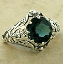 925 STERLING SILVER ART NOUVEAU LONDON BLUE SIM TOPAZ RING SIZE 7,         #1123