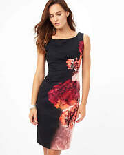 PHASE EIGHT NICOLETTA BLACK RED FLORAL FITTED PENCIL DRESS SIZE 14 BNWT