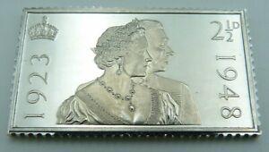925 Silver Stamp Ingot - GB - King George VI - The Royal Silver Wedding 1948
