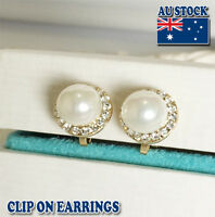 18CT Gold Plated Clip On Earrings With Cream Sea Shell Pearl And Crystal