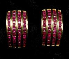Ruby Earrings ~ 14k y.g. Pierced Earrings ~ 1.50 Carats