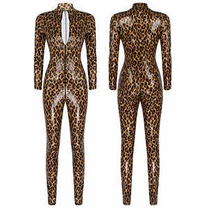 Women Sexy Bodysuit Leopard Print Zipper Long Sleeve Catsuit Leotard Jumpsuit