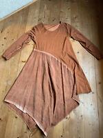 Lagenlook Tunika Kleid Zipfelkleid asymmetrisch caramel Farbverlauf Jersey 42 44