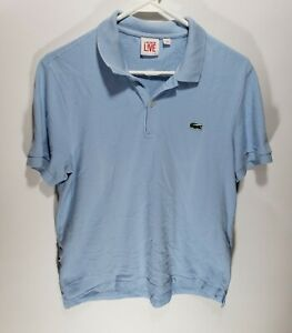 Mens Lacoste Live Short Sleeve Polo Short Light Blue Button Size 4
