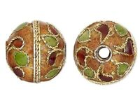 4 Gold Plated Brown & Green Cloisonné 10mm Round Beads with 1.3-1.5mm Hole