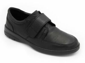 MENS PADDERS NEON  BLACK LEATHER EXTRA WIDE RIP TAPE SHOES