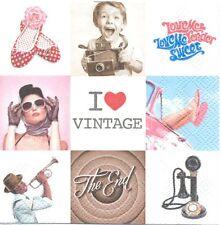 3 Serviettes en papier Cocktail Vignettes Vintage Paper Napkins I love Vintage