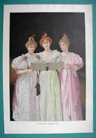 "YOUNG LADIES Sing New Year Songs - COLOR VICTORIAN Era Print 14.5"" x 21"""