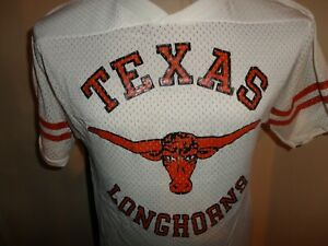Vtg 80's White Bike Texas Longhorns Nylon Screen NCAA Baseball Jersey Fits Sz S