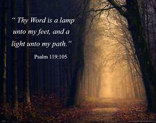 Religious Inspirational Poster Art Print Church Wall Decor Psalm 119:105 RELG42