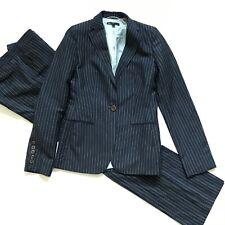 Hugo Boss Pinstripe Pants Suit Womens 6 Navy Blue Blazer Jacket One Button Set