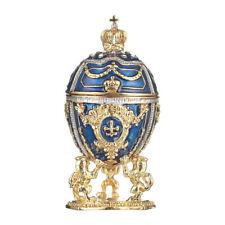 Russische Fabergé Ei / Schmuckkästchen mit Löwen & Kaiserkrone 7,5 cm blau