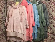 NEW Ladies Italian Long Top Tunic Lagenlook Layers Quirky Scarf Dress Stonewash
