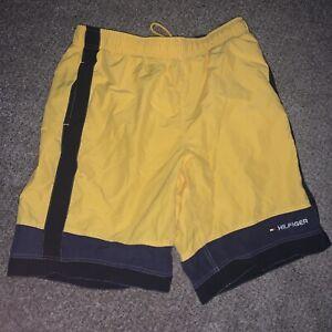 Vtg 90's Tommy Hilfiger Yellow Blue Swim Trunks Shorts Suit Bright Colors Large