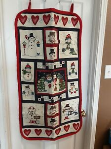 """Handmade Christmas Quilted Snowman Wall Hanging Decoration/Picture 46""""L X 24""""W"""