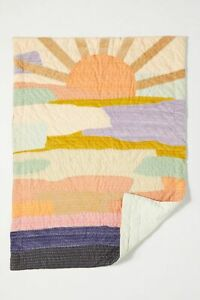 Anthropologie Ava Quilt Patchwork Sun Clouds Sky Whimsy Vivie Cotton NWT TWIN